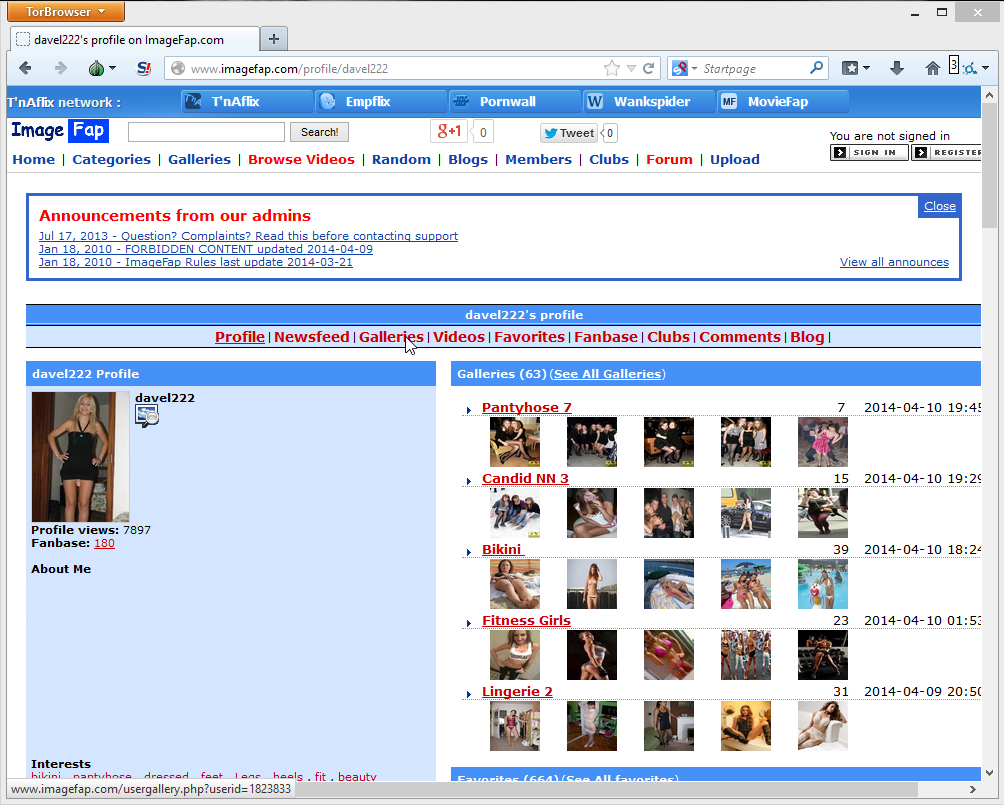 Download imagefap galleries from selected user