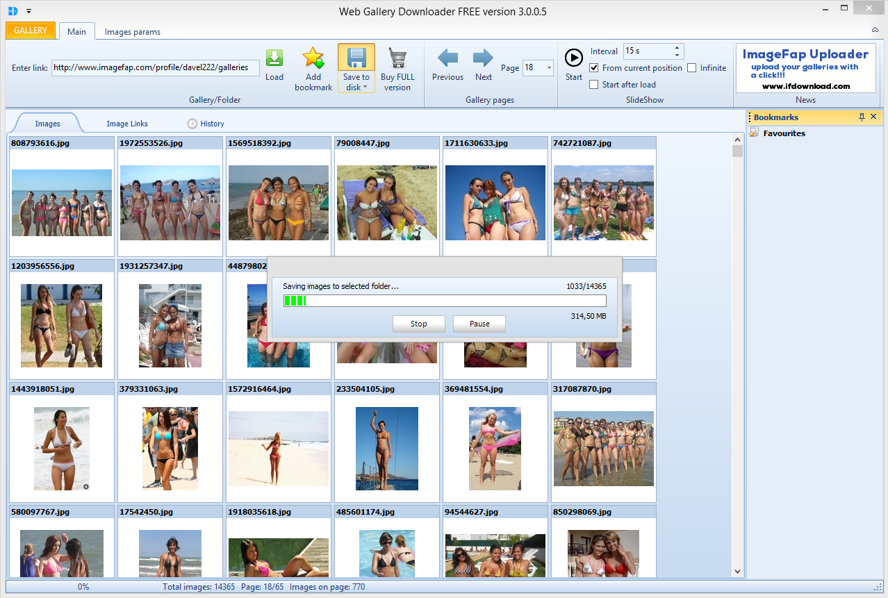 Download imagefap galleries from selected user - saving imagefap galleries to disc